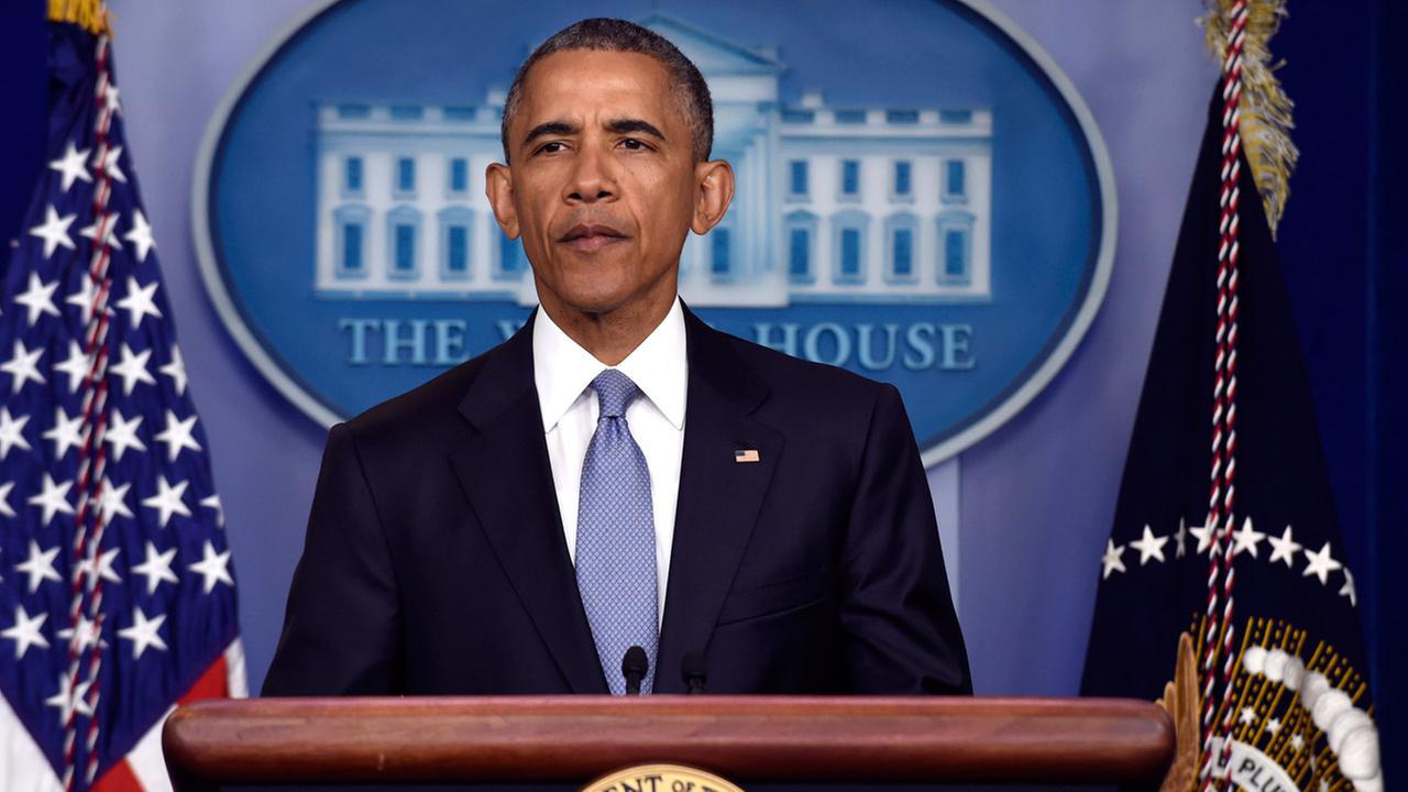 President Barack Obama speaks in the Brady Press Briefing Room of the White House in Washington, Thursday, April 23, 2015.