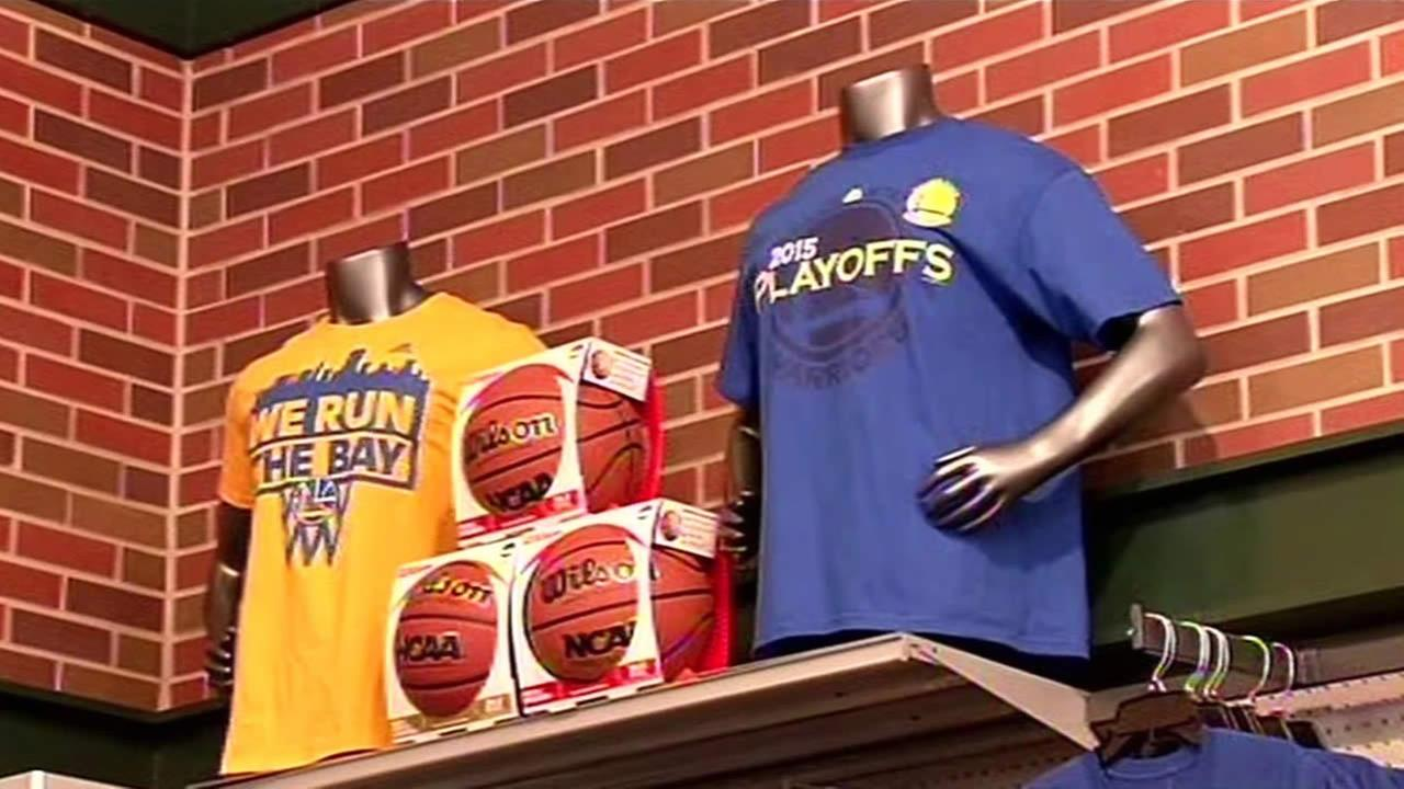 Golden State Warriors gear is seen at Dicks Sporting Goods in Pleasant Hill, Calif. on April 23, 2015.