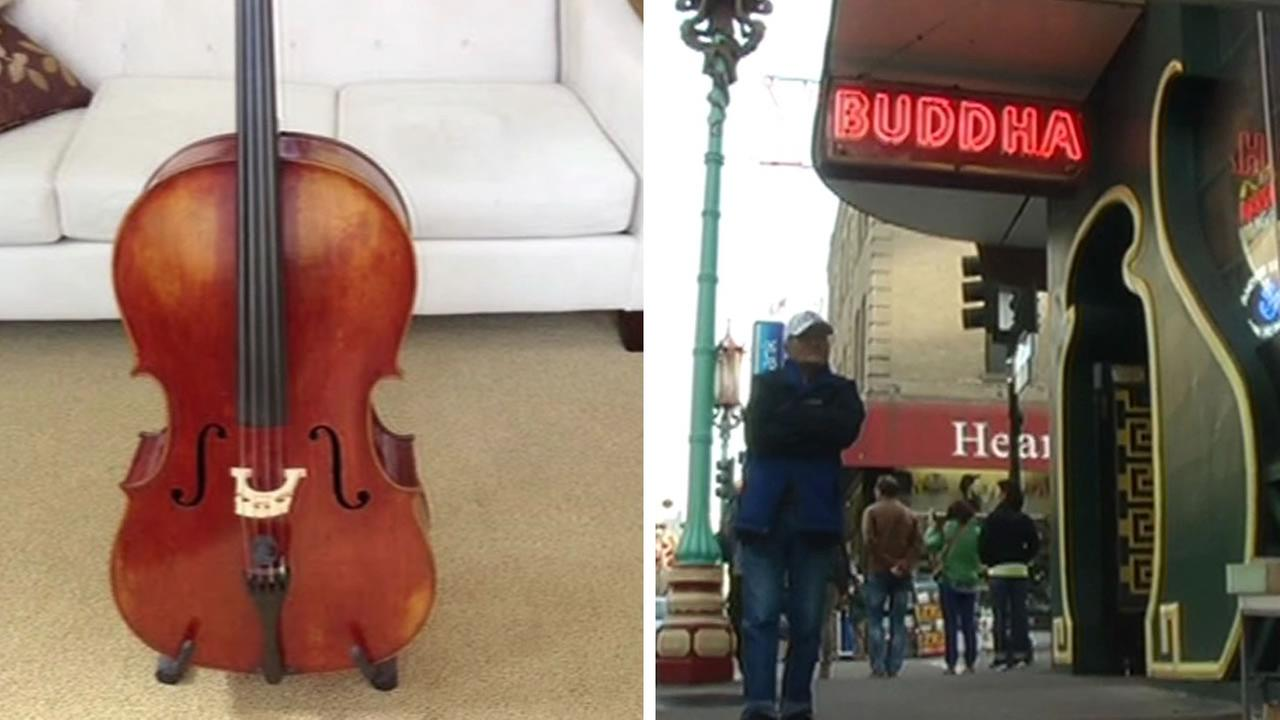 split screen of cello and buddah bar