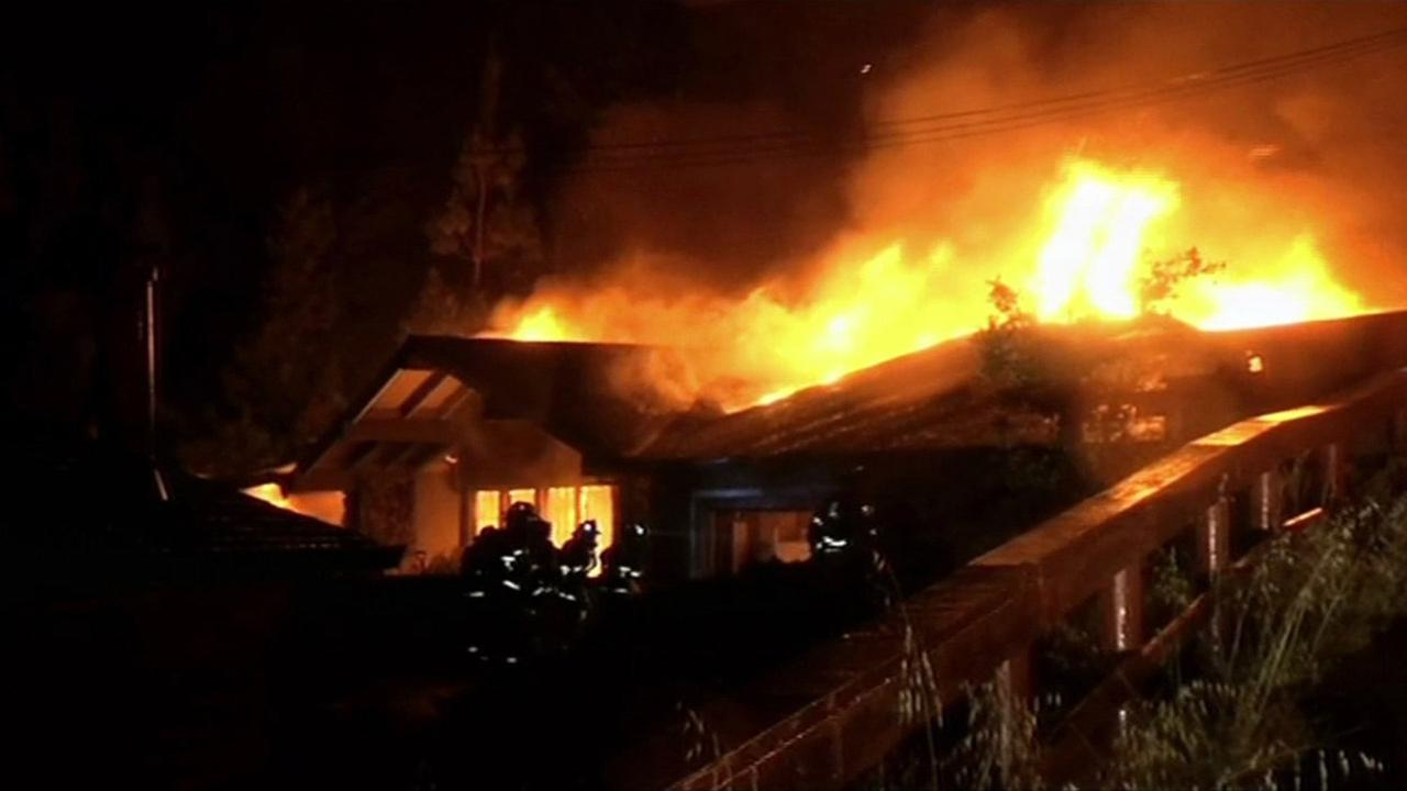 Fire destroys home in Walnut Creek, April 25, 2015.