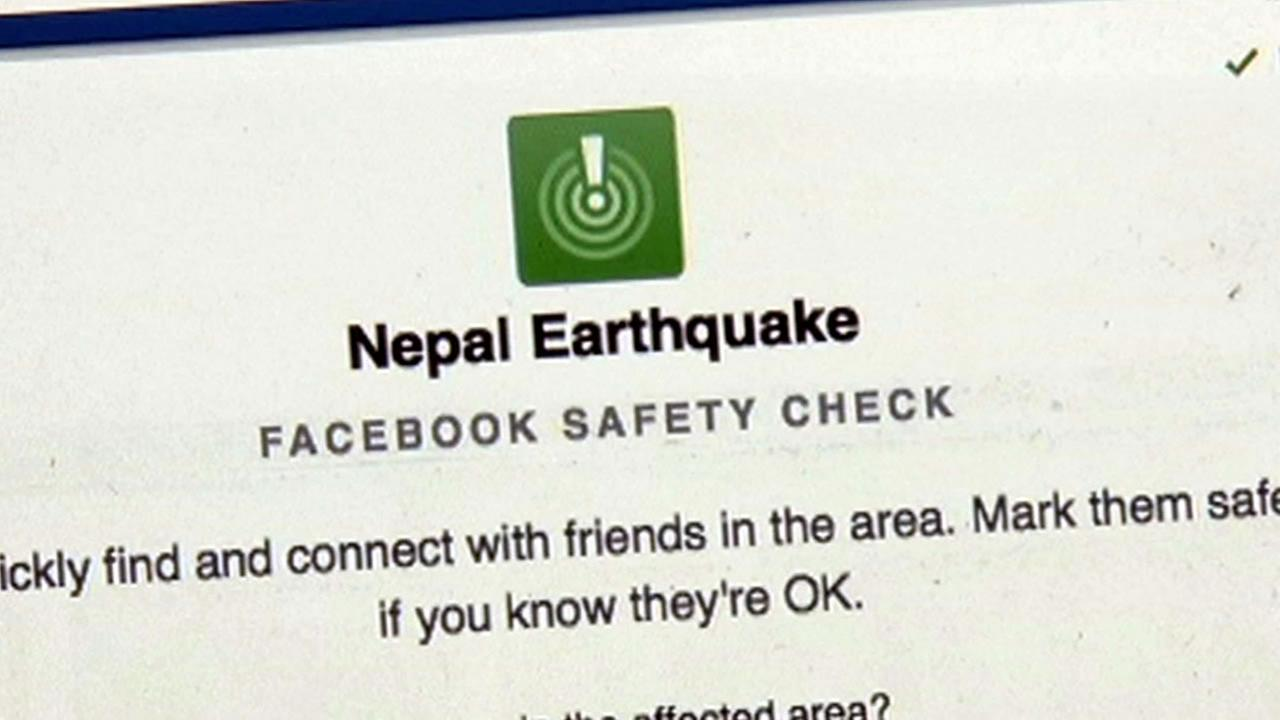 Anil Pandey of Sobrante, Calif. uses Facebook to keep track of his relatives after a massive earthquake hit Nepal on Saturday, April 25, 2015.