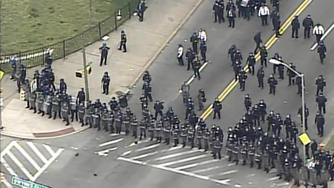 Police form a line to block protesters in Baltimore on April 27, 2015.