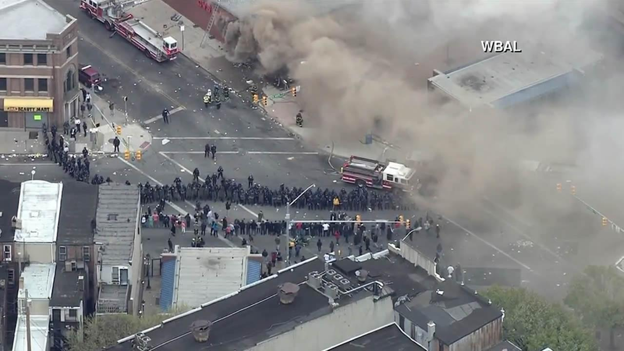 A CVS was looted and then set on fire during a protest in Baltimore on April 27, 2015.