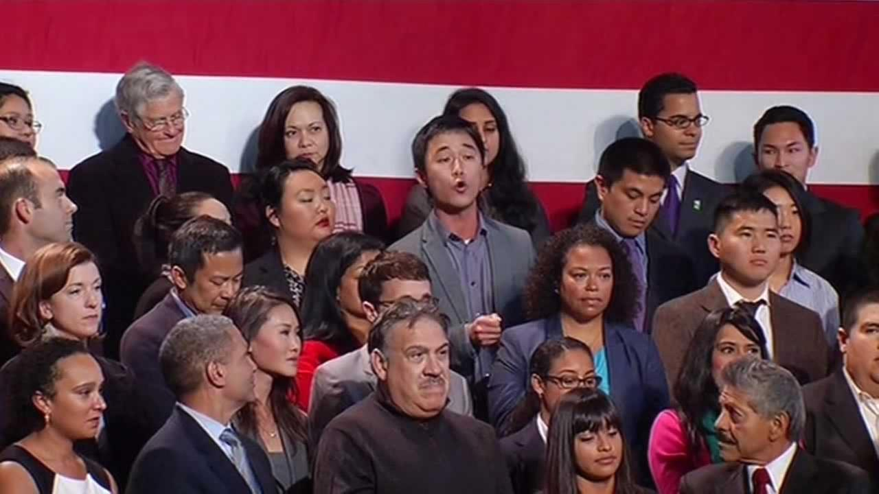 Ju Hong heckling President Obama in San Francisco.