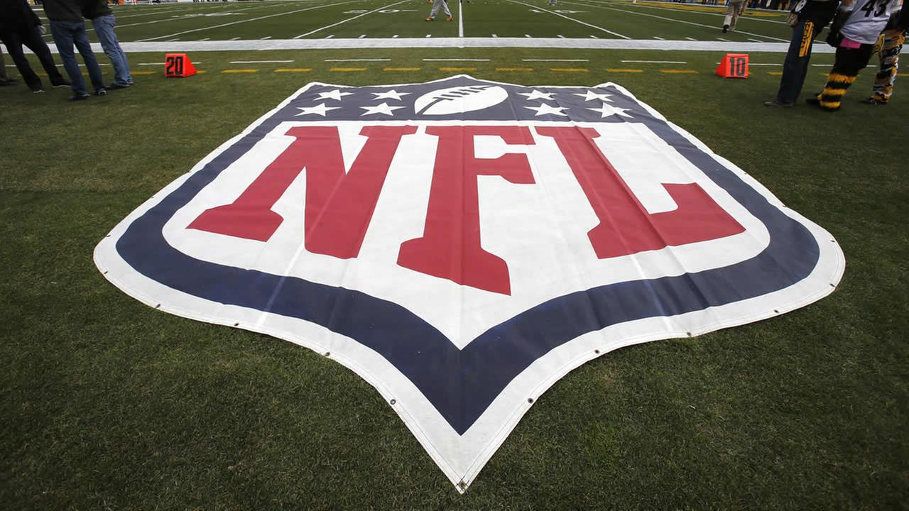 This is a NFL logo on the sidelines of Heinz Field before an NFL football game between the Pittsburgh Steelers and the Kansas City Chiefs in Pittsburgh on Dec. 21, 2014. (AP Photo)