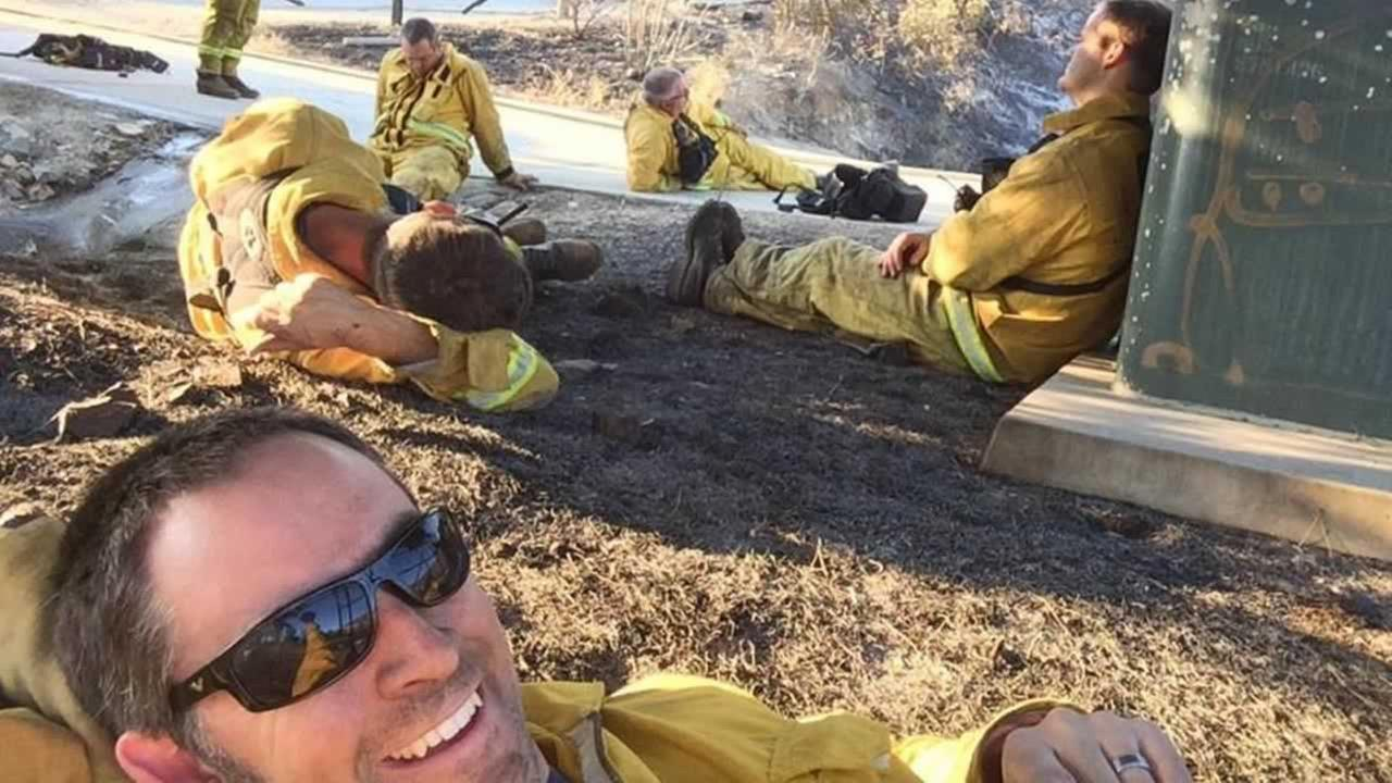 San Marcos firefighter Tim Bergon took this selfie to let his wife know he was OK.