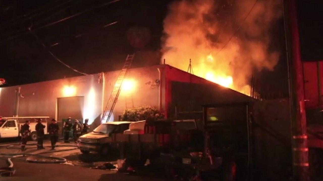 Oakland firefighters battled a fire at warehouse, Thursday, April 30, 2015.
