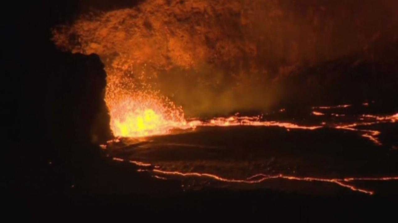A lava lake is rising at Hawaiis Kilauea Volcano and has overflowed a crater at least three times this week.