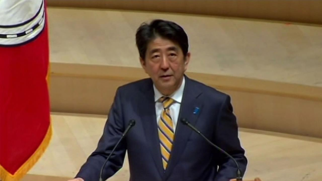Japanese Prime Minister Shinzo Abe speaks at Stanford University Thursday, April 30, 2015.