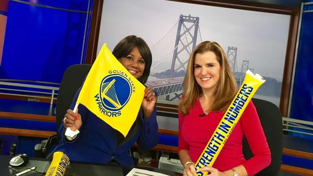 ABC7 News reporter Carolyn Tyler and Meteorologist Lisa Argen show off their Golden State Warriors pride in San Francisco on May 3, 2015.