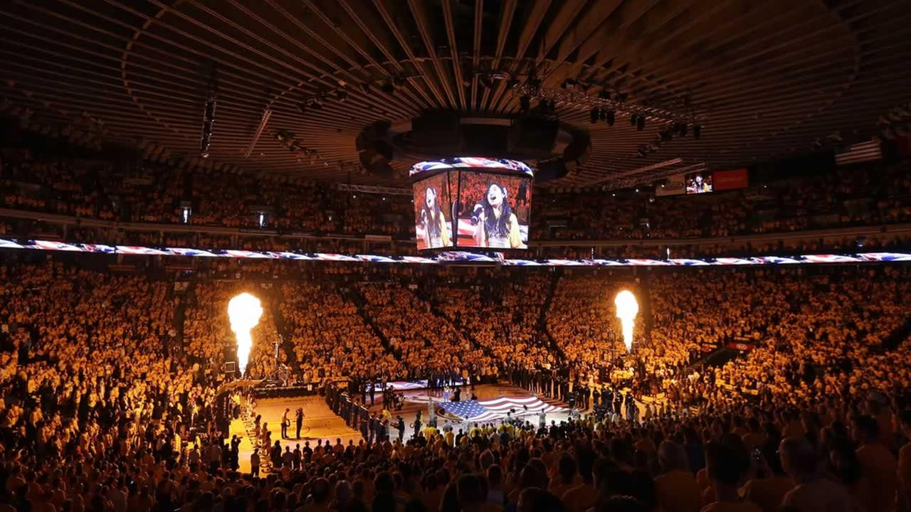 The national anthem is performed before Game 1 in a second-round NBA playoff series between the Warriors and the Grizzlies at Oracle Arena in Oakland, Calif., May 3, 2015. (AP Photo/Jeff Chiu)AP Photo/Jeff Chiu