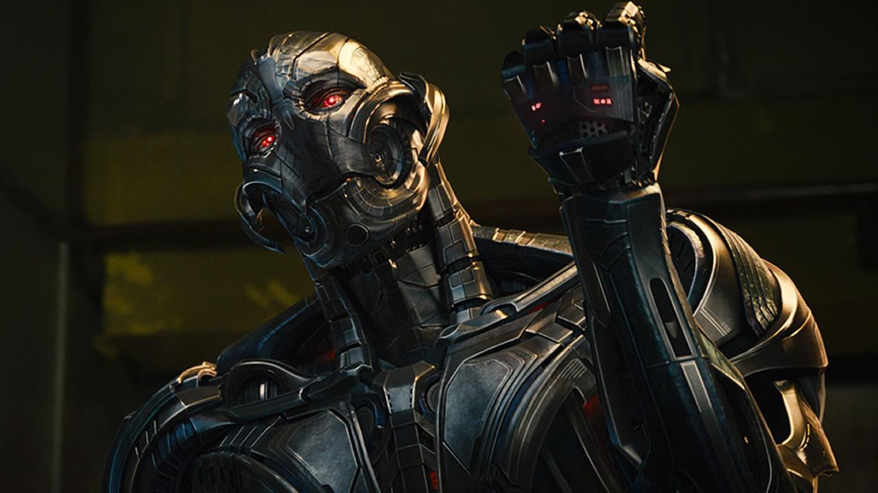 This photo provided by Disney/Marvel shows, James Spader as Ultron Prime, in a scene from the film, Avengers: Age of Ultron. (Film Frame/Disney/Marvel via AP)