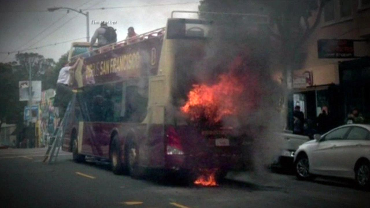 Tour bus fire in San Francisco, Sunday May 3, 2015.