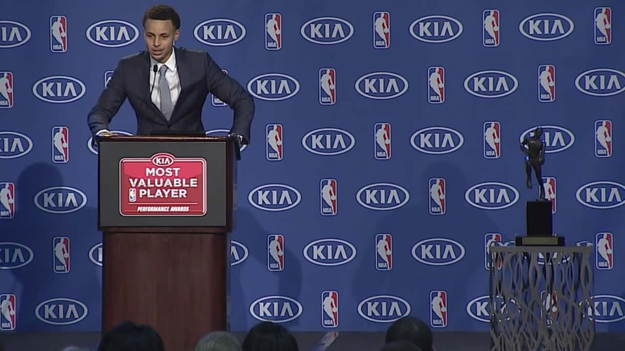 Golden State Warriors star Steph Curry addresses the media after being awarded the NBAs Most Valuable Player award in Oakland, Calif. on May 4, 2015.
