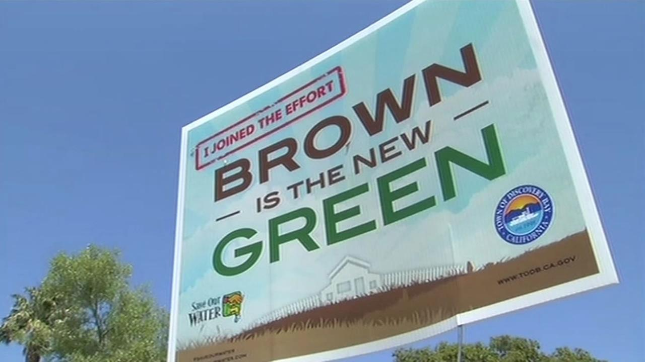 A sign that reads, I joined the effort: brown is the new green, is seen in Discovery Bay, Calif. on May 4, 2015.