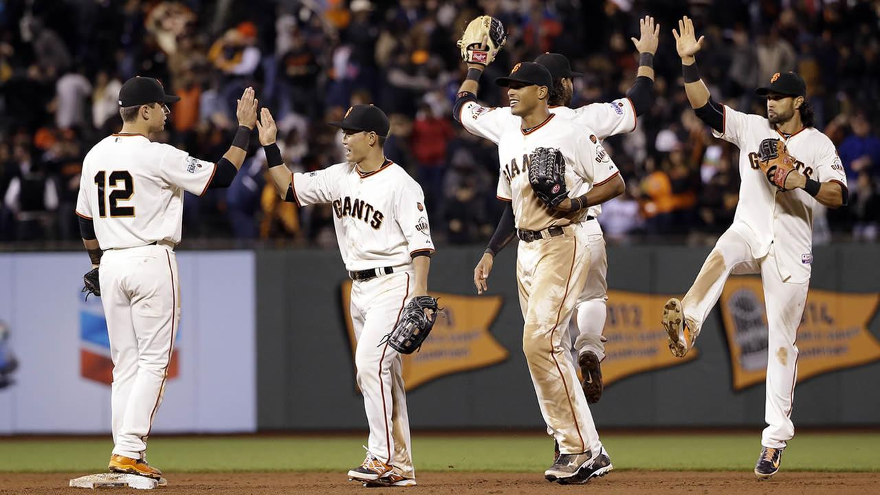 San Francisco Giants Joe Panik, Nori Aoki, Justin Maxwell, Brandon Crawford