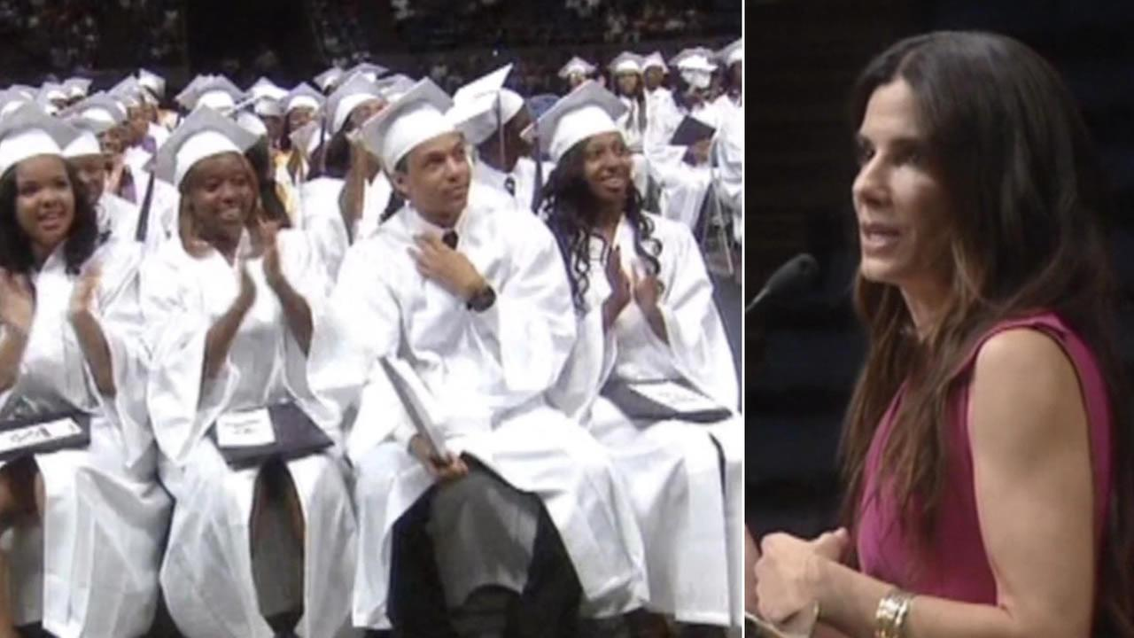 Actress Sandra Bullock thrilled students at Warren Easton High School in New Orleans when she showed up as a surprise commencement speaker.
