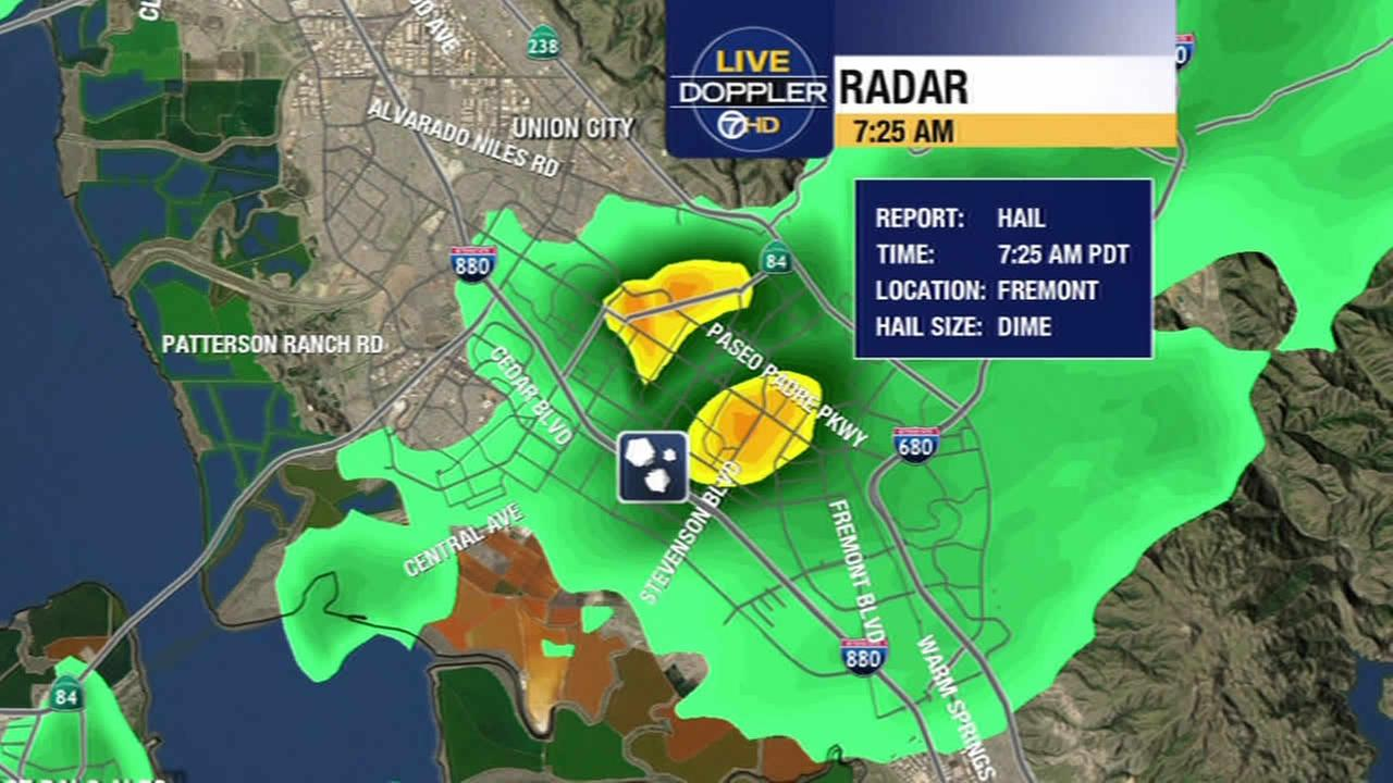 ABC7 News Meteorologist Mike Nicco says hail was reported in Fremont, Calif. on May 7, 2015.KGO-TV