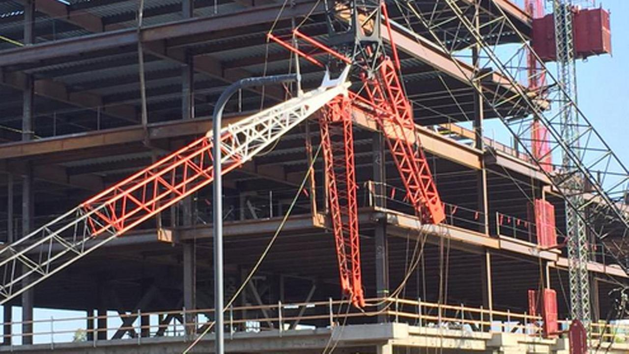 Crane collapse in Santa Clara, Friday, May 8, 2015.