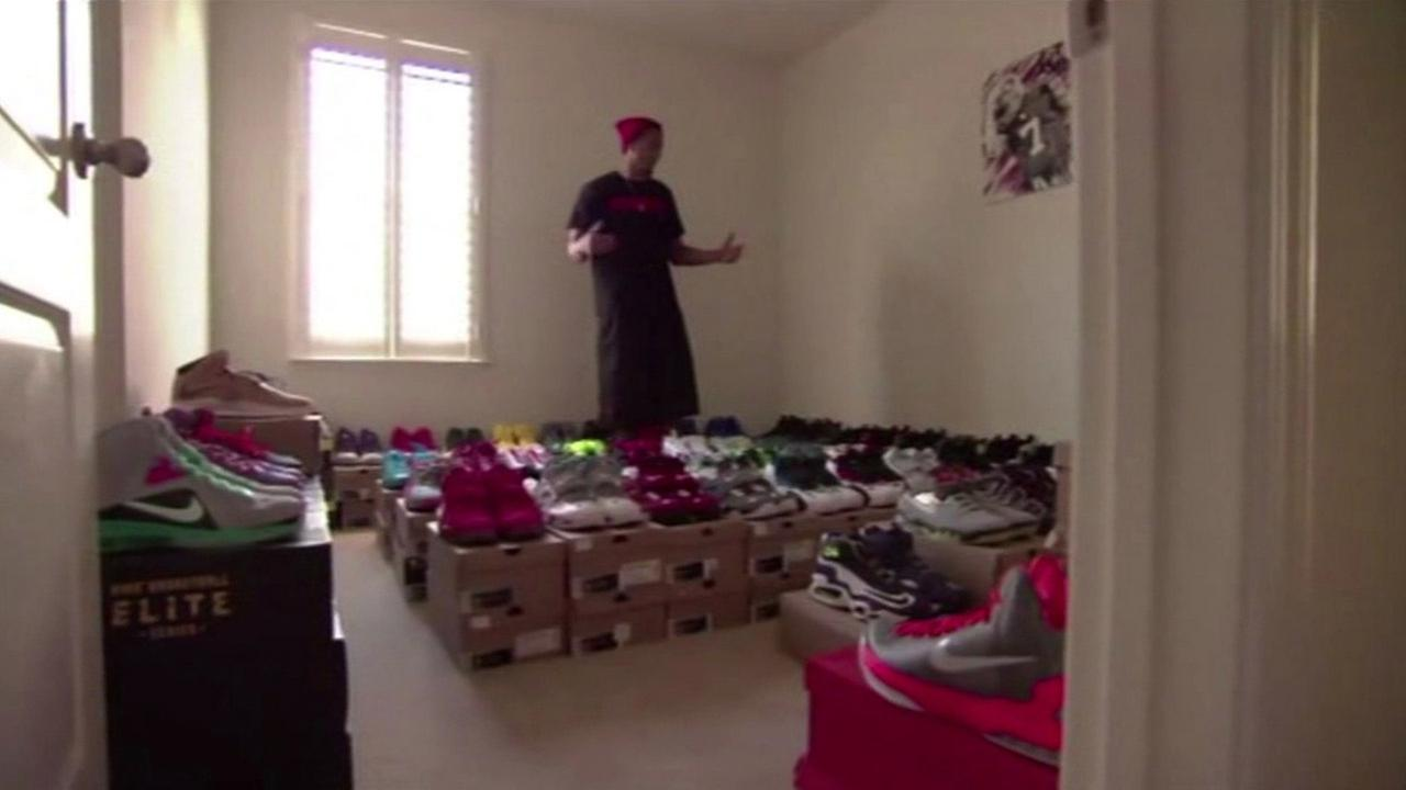 San Francisco 49ers quarterback Colin Kaepernick shows off his shoe collection. (ESPN)