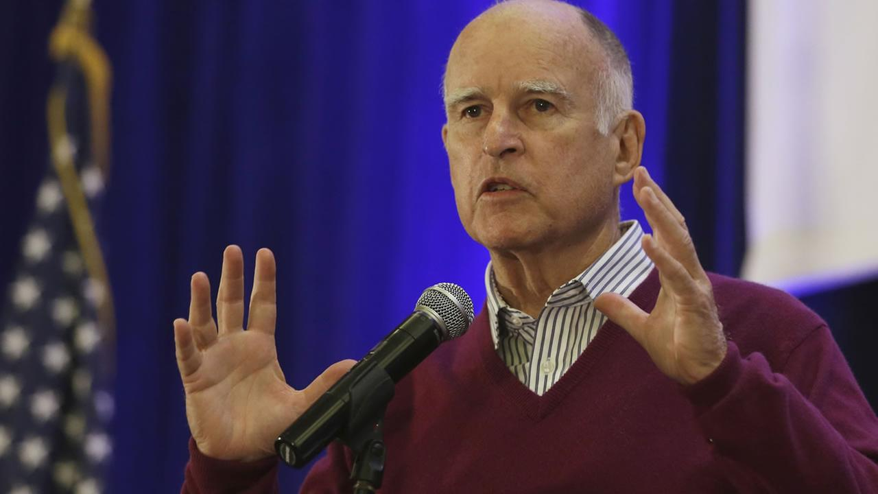 Gov. Jerry Brown speaks at the Association of California Water Agencies conference in Sacramento, Calif., Wednesday, May 6, 2015. (AP Photo/Rich Pedroncelli)