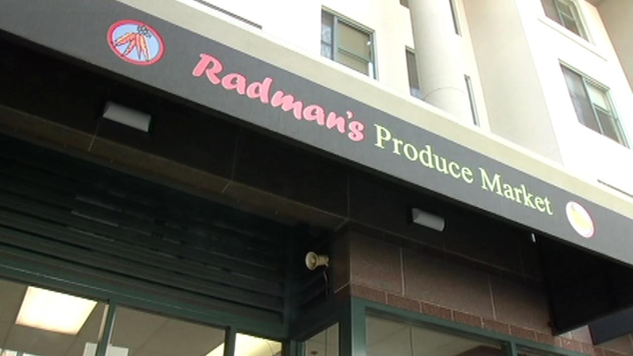 This undated image shows a sign for Radmans Produce Market in San Franciscos Tenderloin neighborhood.