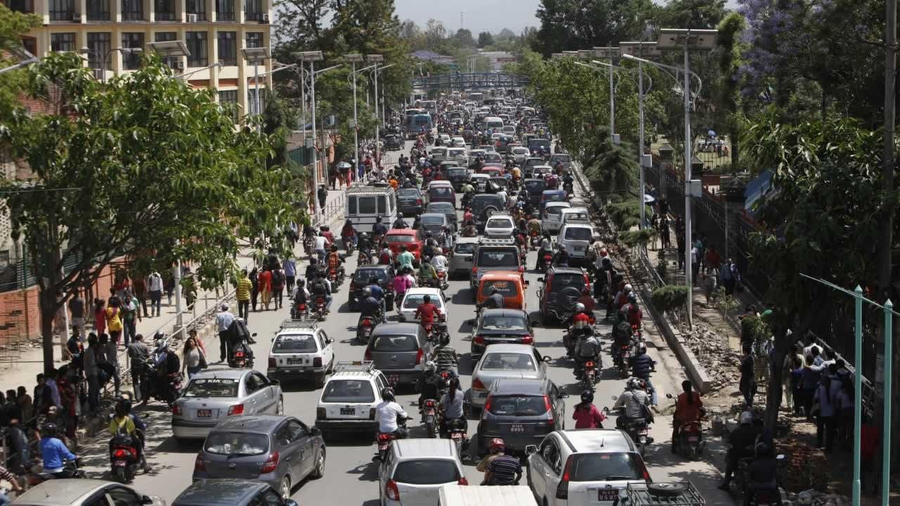 Traffic grinds to a halt after an earthquake hit Nepal in Kathmandu, Nepal, Tuesday, May 12, 2015.AP Photo/Bikram Rai