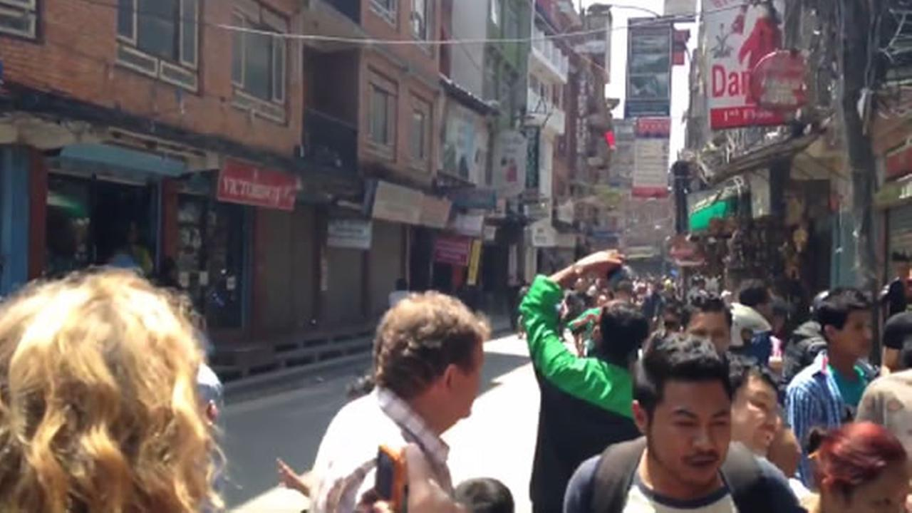 Downtown Kathmandu seconds after the 7.3 quake on Tuesday, May 12, 2015. People fled from the congested market area. Sergio Quintana/KGO-TV