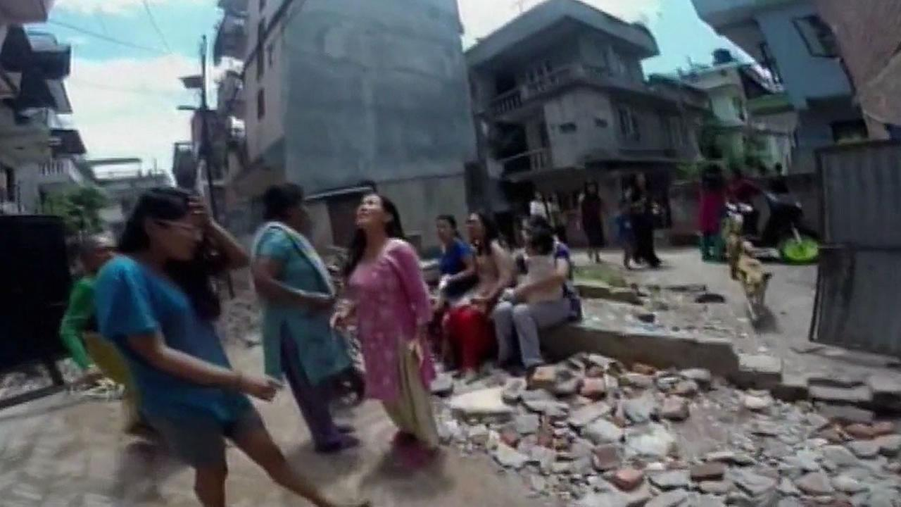 people in Nepal going outside after a 7.3 earthquake