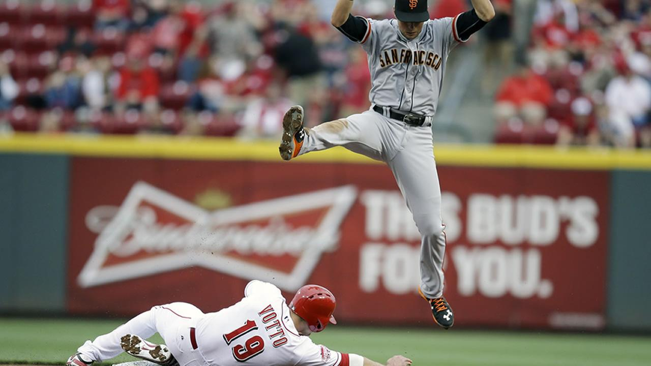 San Francisco Giants second baseman Joe Panik jumps in the air