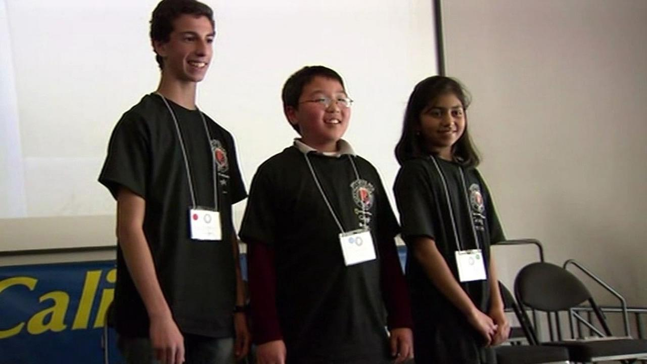 Tuvya Bergson-Michelson, left, after he won the 2014 California National Geographic Bee before heading to Washington, D.C.