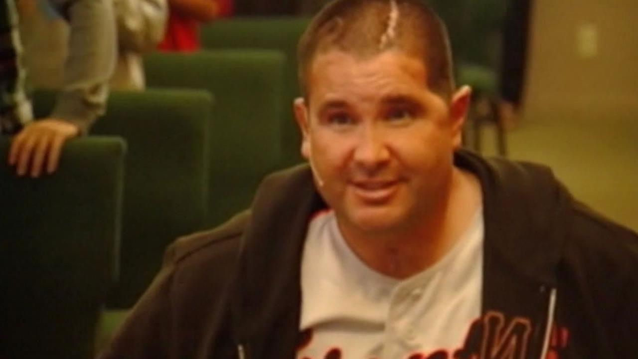 Bryan Stow, the Giants fan who was severely beaten outside of Dodgers Stadium, discussed bullying at Baymonte Christian School in Scotts Valley, Calif. on Friday, May 15, 2015.