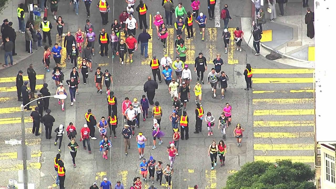 Police check for alcohol at San Franciscos annual Bay to Breakers Race on May 17, 2015.KGO-TV