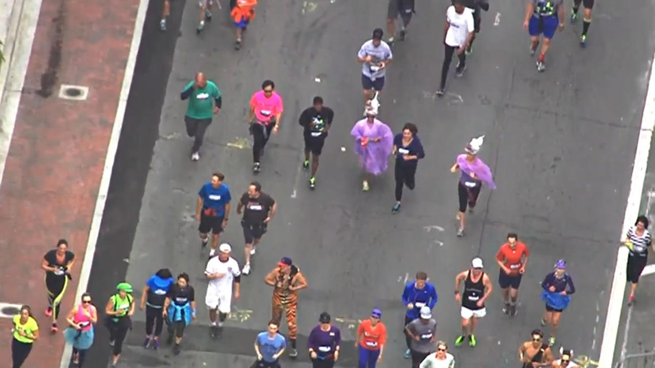 Runners dressed as unicorns participate in San Franciscos annual Bay to Breakers Race on May 17, 2015.KGO-TV