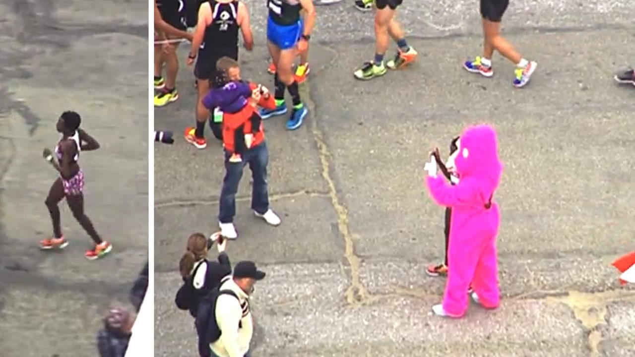 Jane Kibii won the female division of San Franciscos annual Bay to Breakers Race on May 17, 2015 with a time of 40:04.KGO-TV