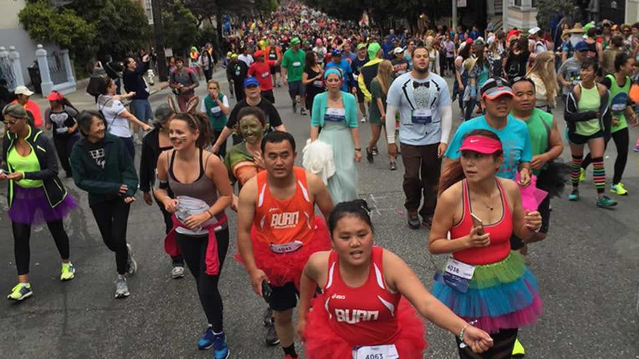 Thousands of runners participate in San Franciscos annual Bay to Breakers Race on May 17, 2015.