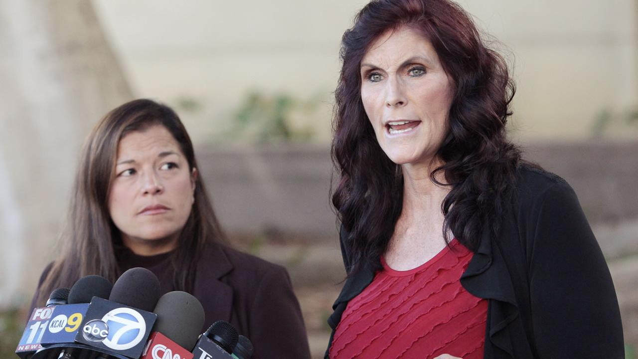 File - This Sept. 20, 2012 file photo shows Cindy Lee Garcia, right, one of the actresses in the film Innocence of Muslims, and attorney M. Cris Armenta at a news conference.