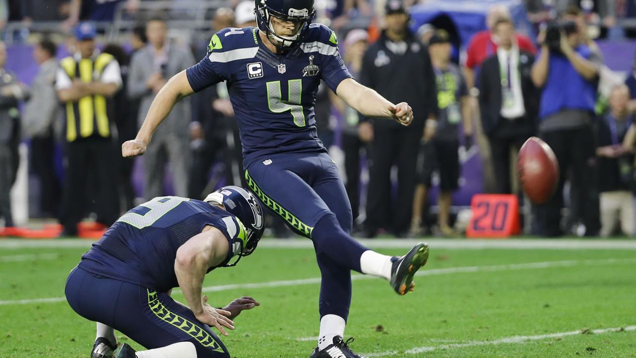 Seattle Seahawks kicker Steven Hauschka (4) kicks the extra point after a touchdown in Super Bowl XLIX