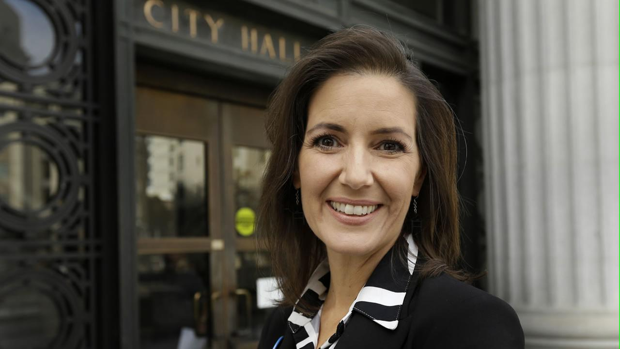 Oakland mayor Libby Schaaf is seen outside City Hall.