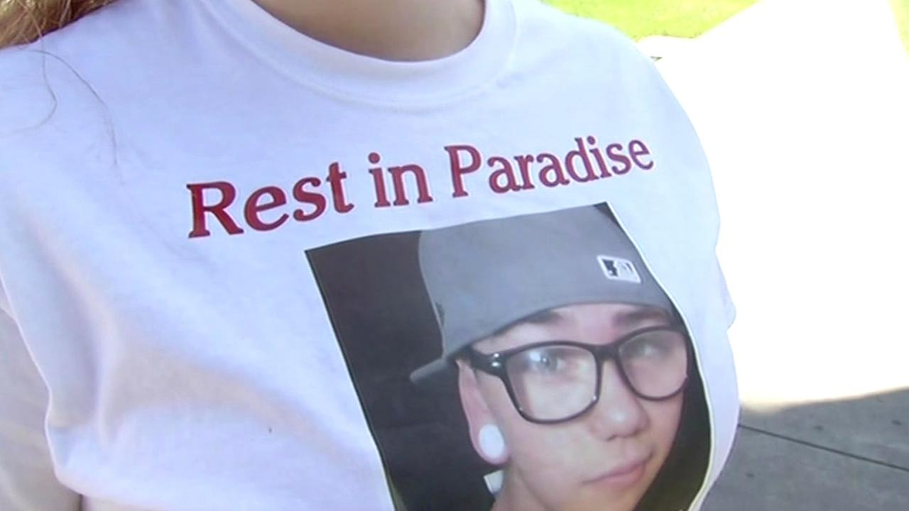 A shirt honors 17-year-old Max Rusk, who was shot and killed near Jesse M. Bethel High School in Vallejo, Calif. on Thursday, May 14, 2015.