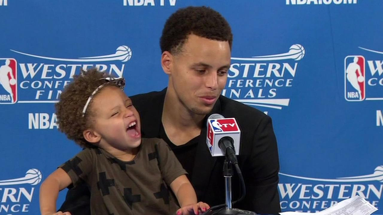 Despite MVP Stephen Currys 34 points against the Rockets in Game 1 of the Western Conference finals on Tuesday, May 19, 2015, the real star was his 2-year-old daughter, Riley.