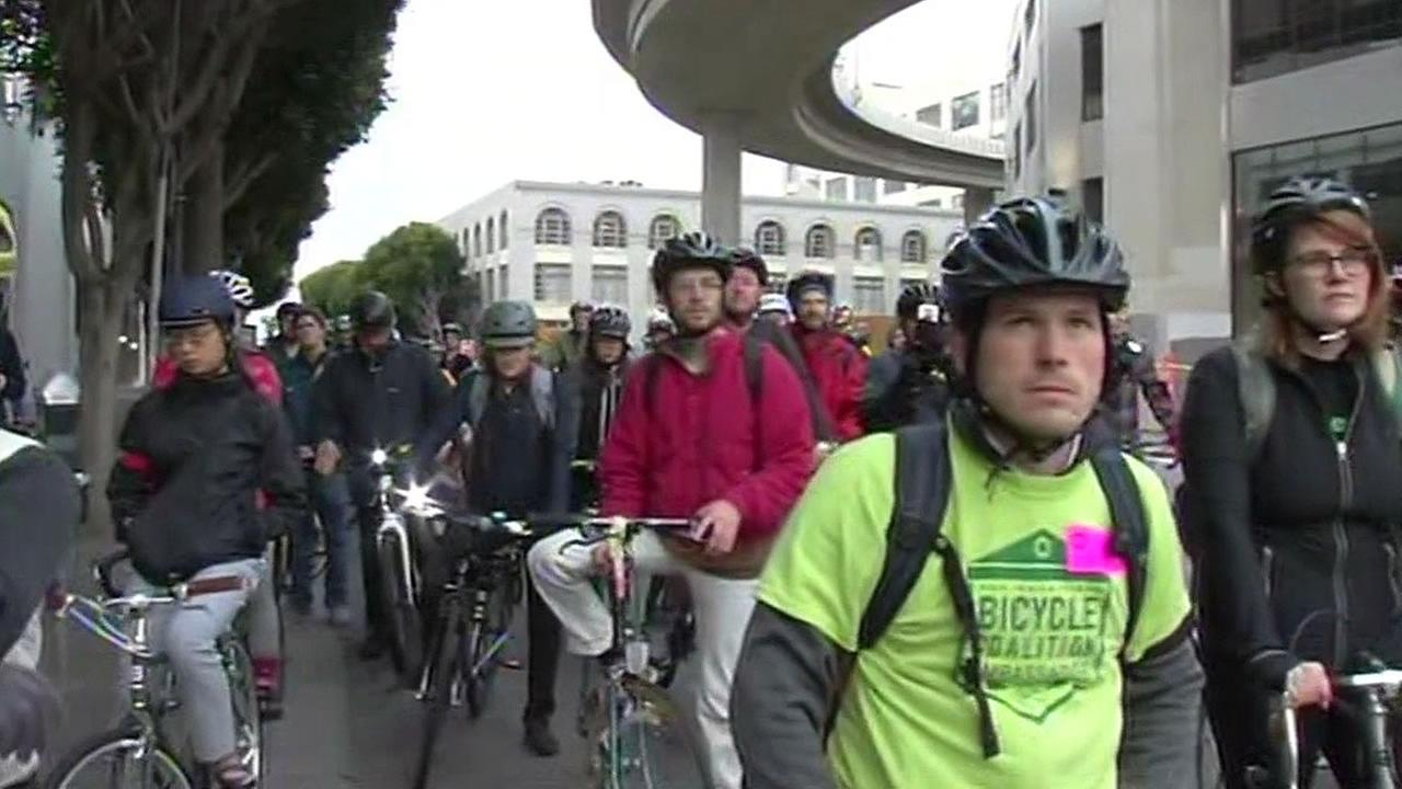 cyclists gathered to honor those who died or were injured riding bikes in San Francisco