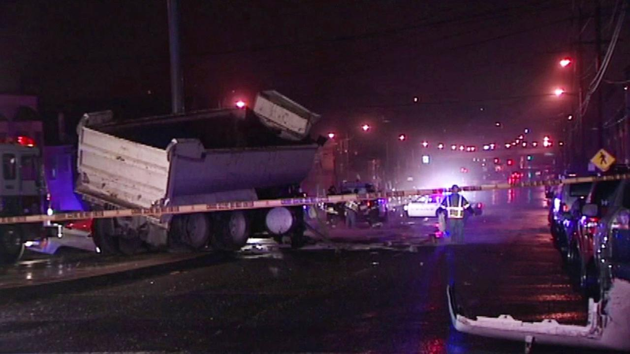 Dump truck accident in Daly City after high-speed chase.