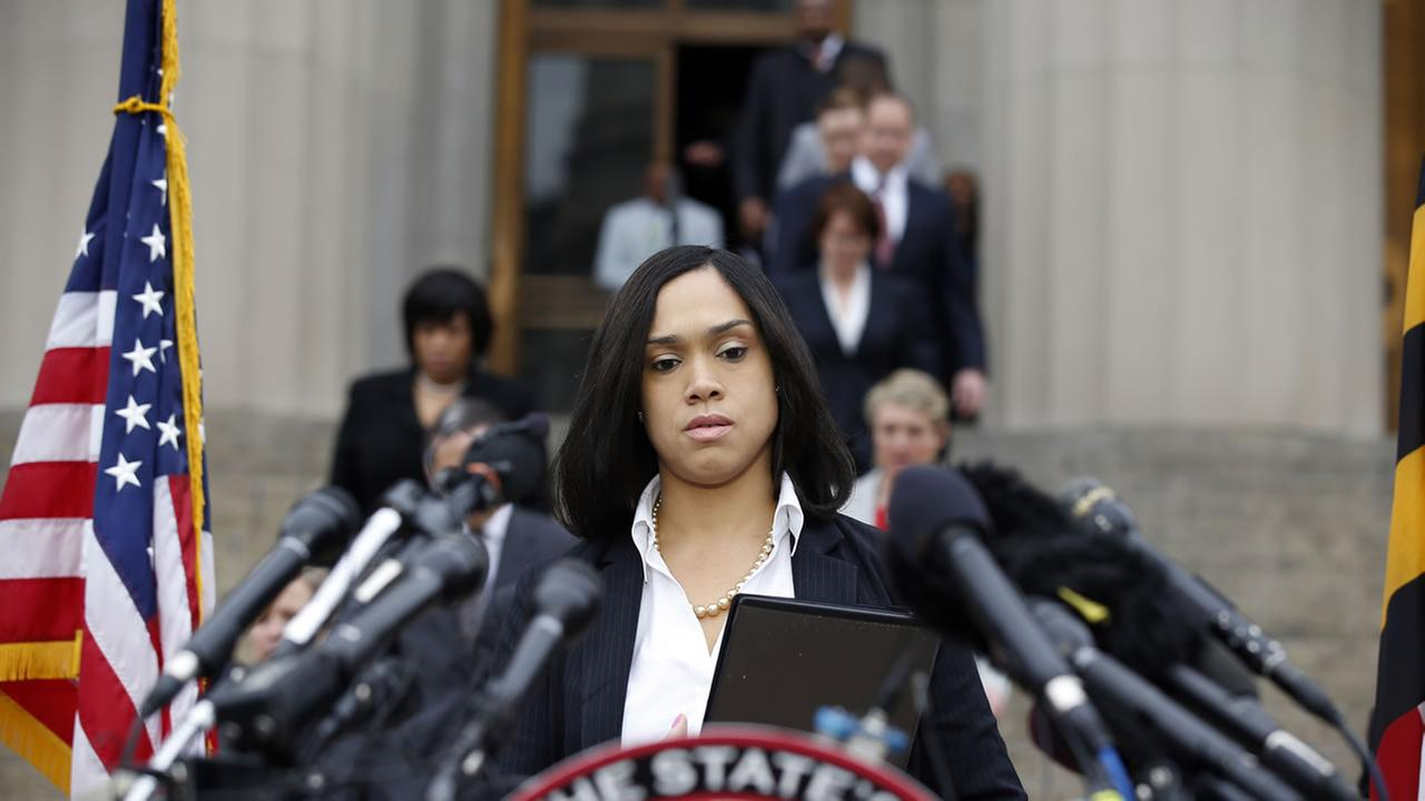 Marilyn Mosby, Baltimore states attorney, approaches the podium to speak at a media availability, Friday, May 1, 2015 in Baltimore.