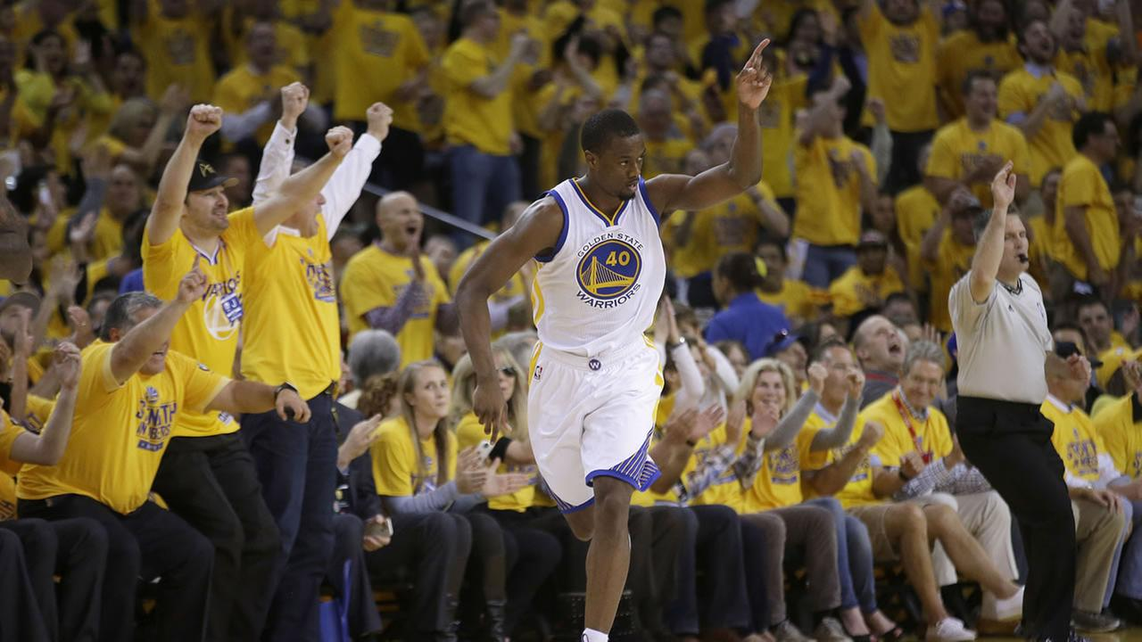 Golden State Warriors forward Harrison Barnes (40) against the Houston Rockets during the first half of Game 2 of the NBA basketball Western Conference finals in Oakland, Calif.AP Photo/Rick Bowmer