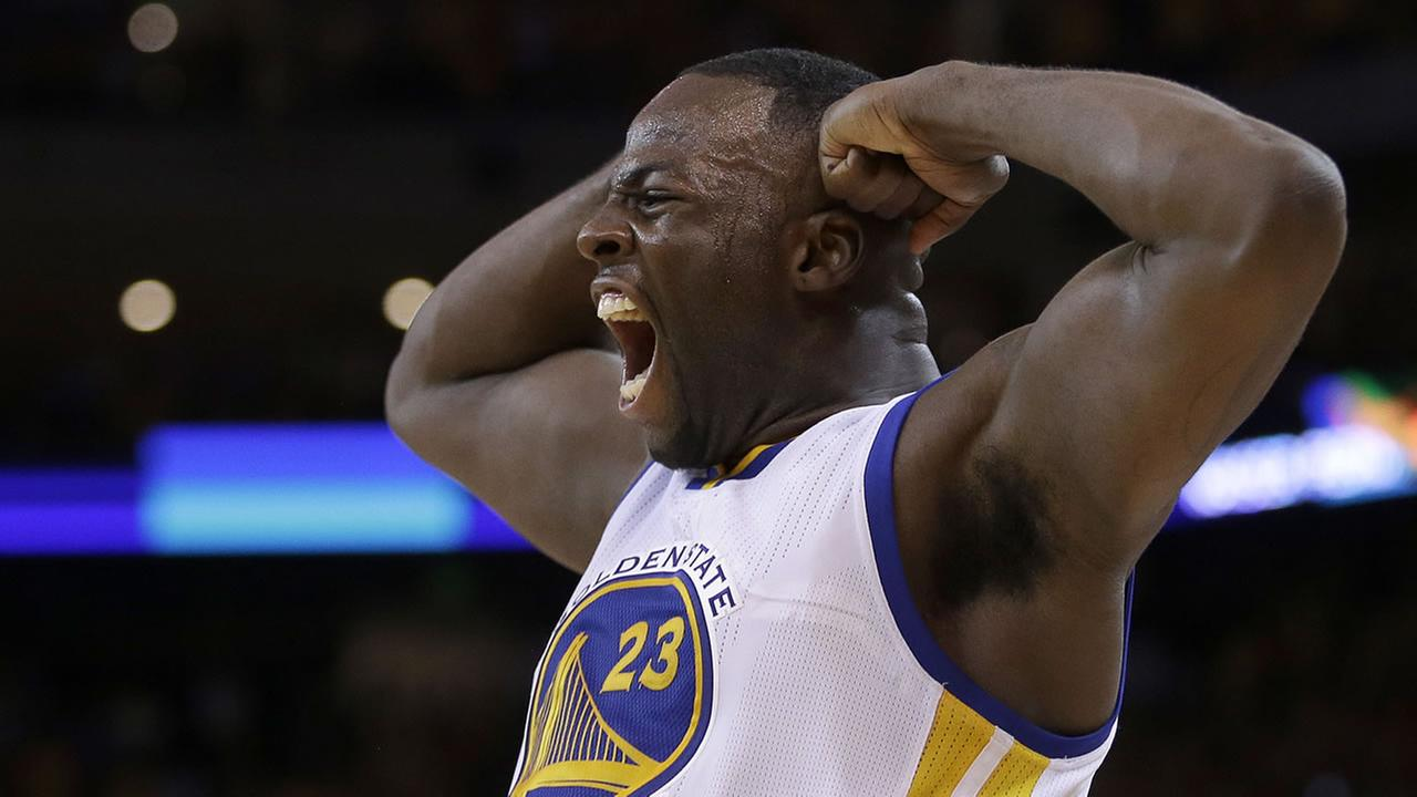 Golden State Warriors forward Draymond Green (23) reacts during the second half of Game 2 of the NBA basketball Western Conference finals against the Houston Rockets.AP Photo/Tony Avelar