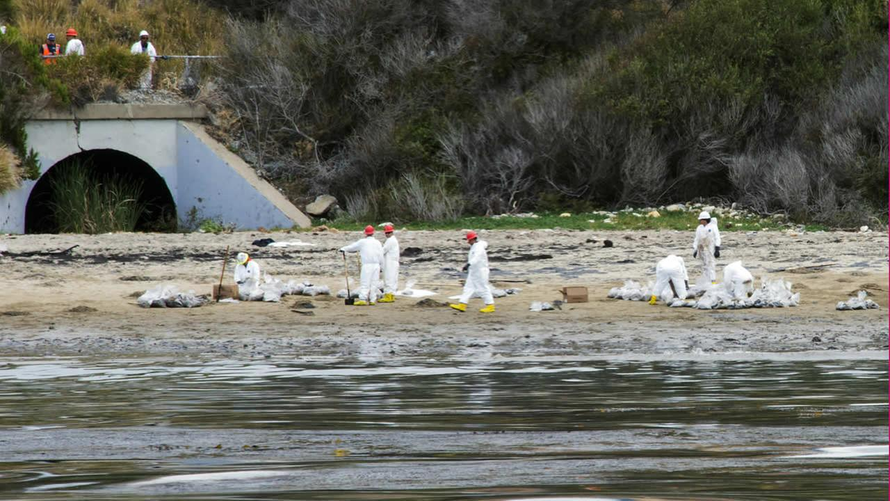 Crews continue cleanup of the oil spilled on Refugio State Beach in Goleta, Calif.