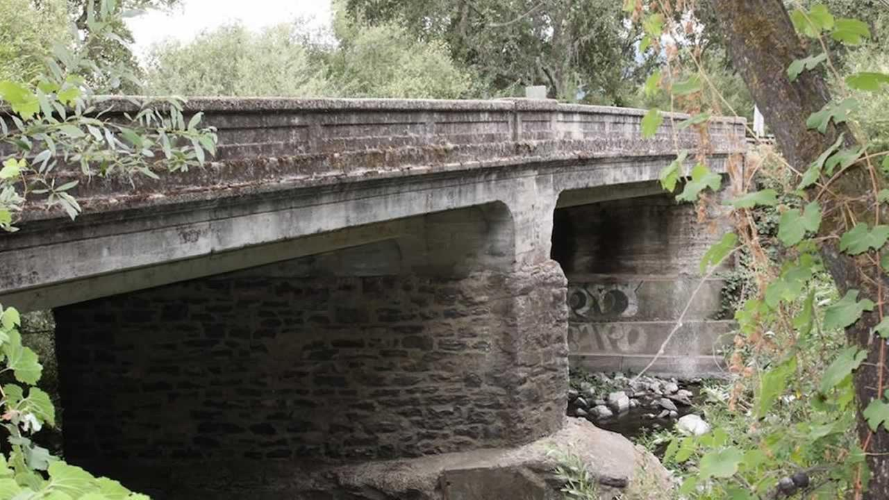 The bridge on Oakville Crossroad in Napa County has been shut down due to damage by the magnitude-4.1 quake on Thursday, May 21, 2015.