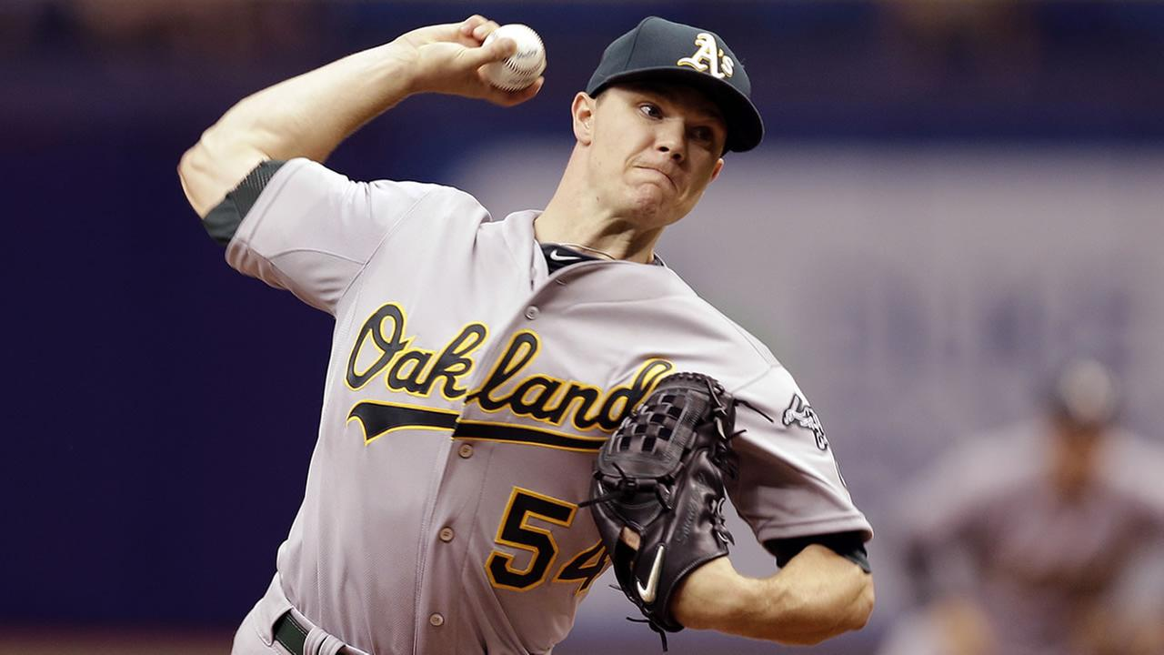 Oakland Athletics starting pitcher Sonny Gray delivers to the Tampa Bay Rays during the first inning of a baseball game May 24, 2015, in St. Petersburg, Fla.