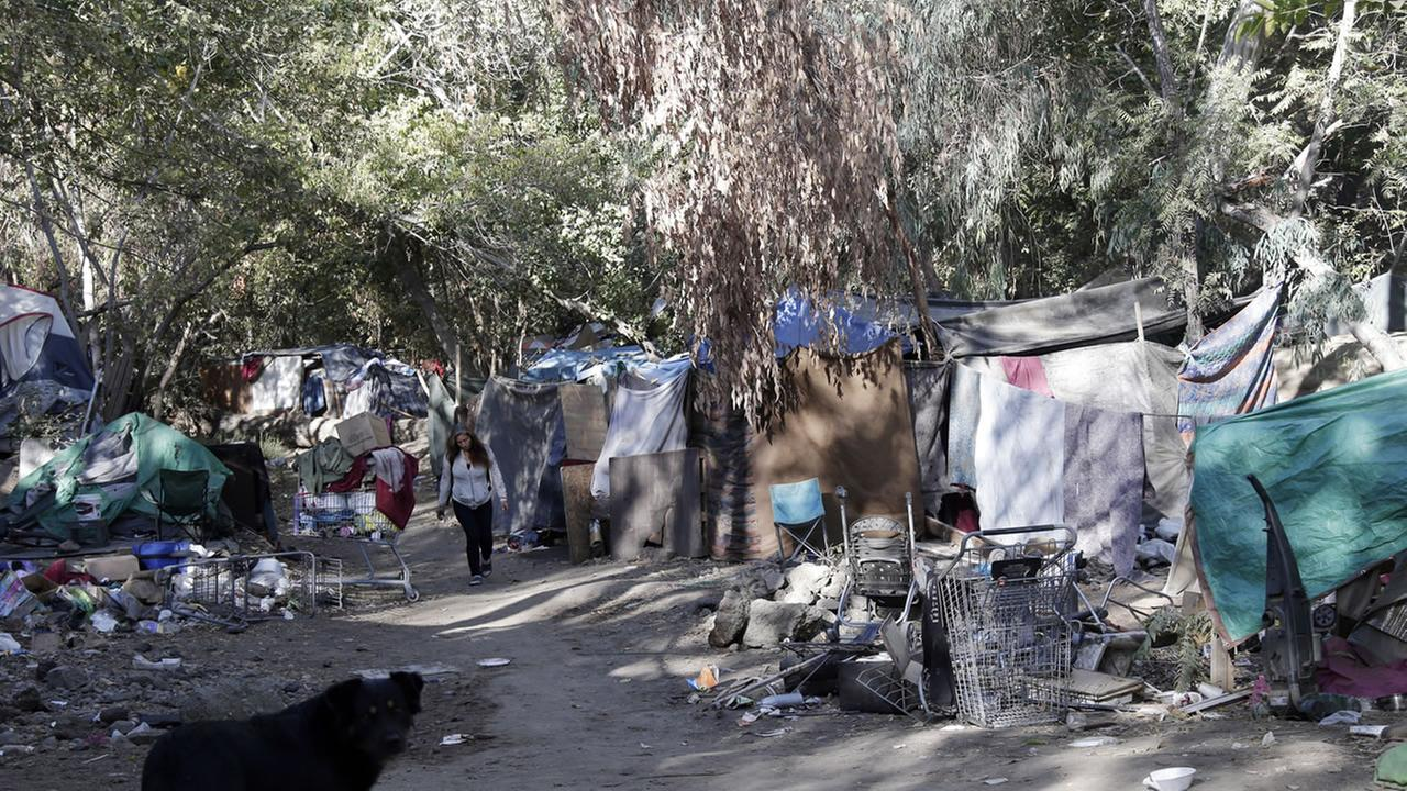 A general view of The Jungle, a homeless encampment, on Thursday, Oct. 23, 2014, in San Jose, Calif.